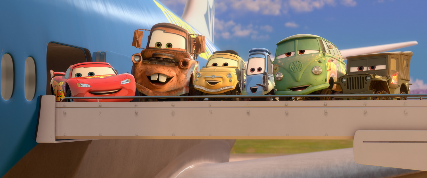 Cars 2 Still: Gang Goes Flying