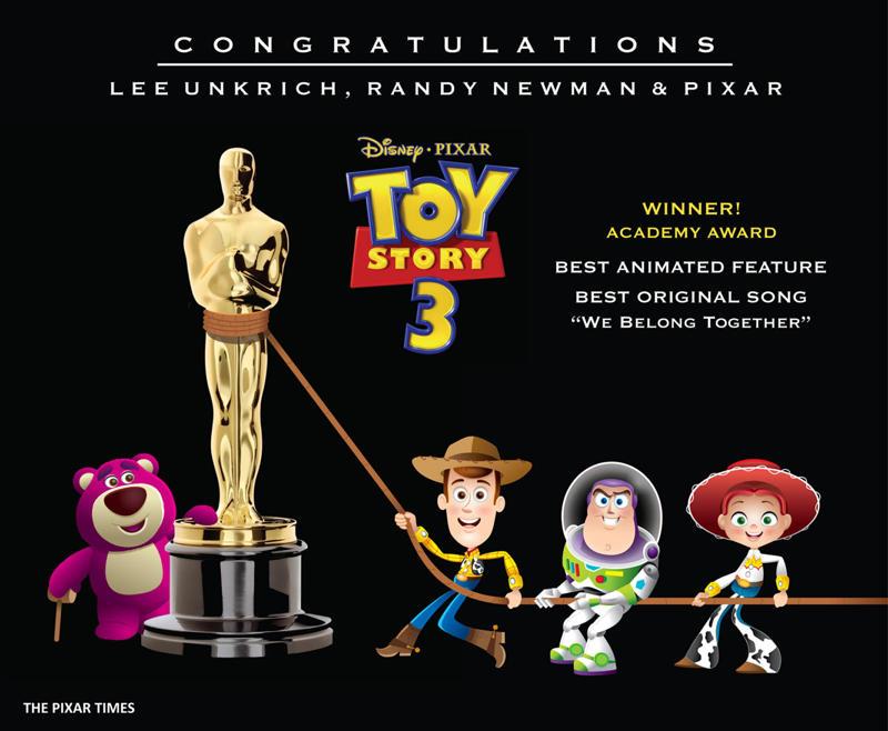 Toy Story 3 Oscar Congratulations