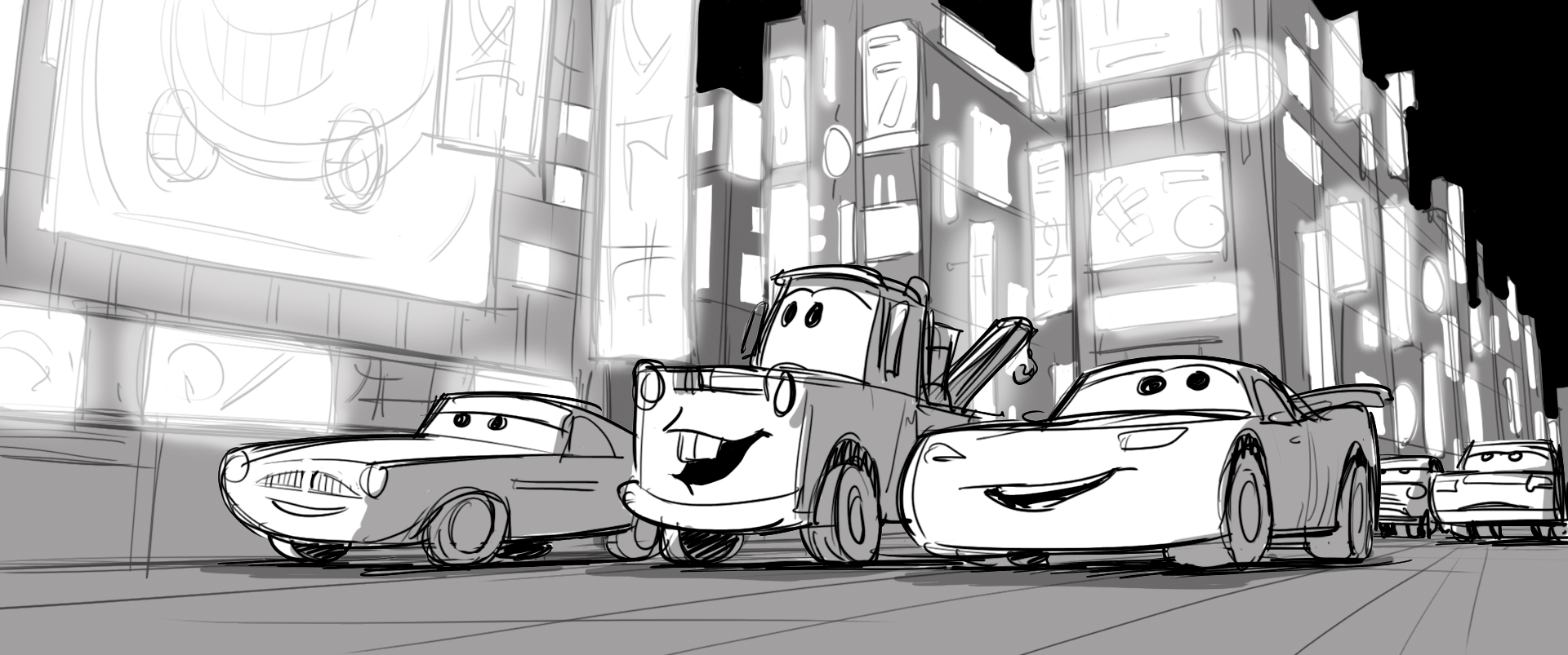 Step-by-Step Scene Progression In Cars 2
