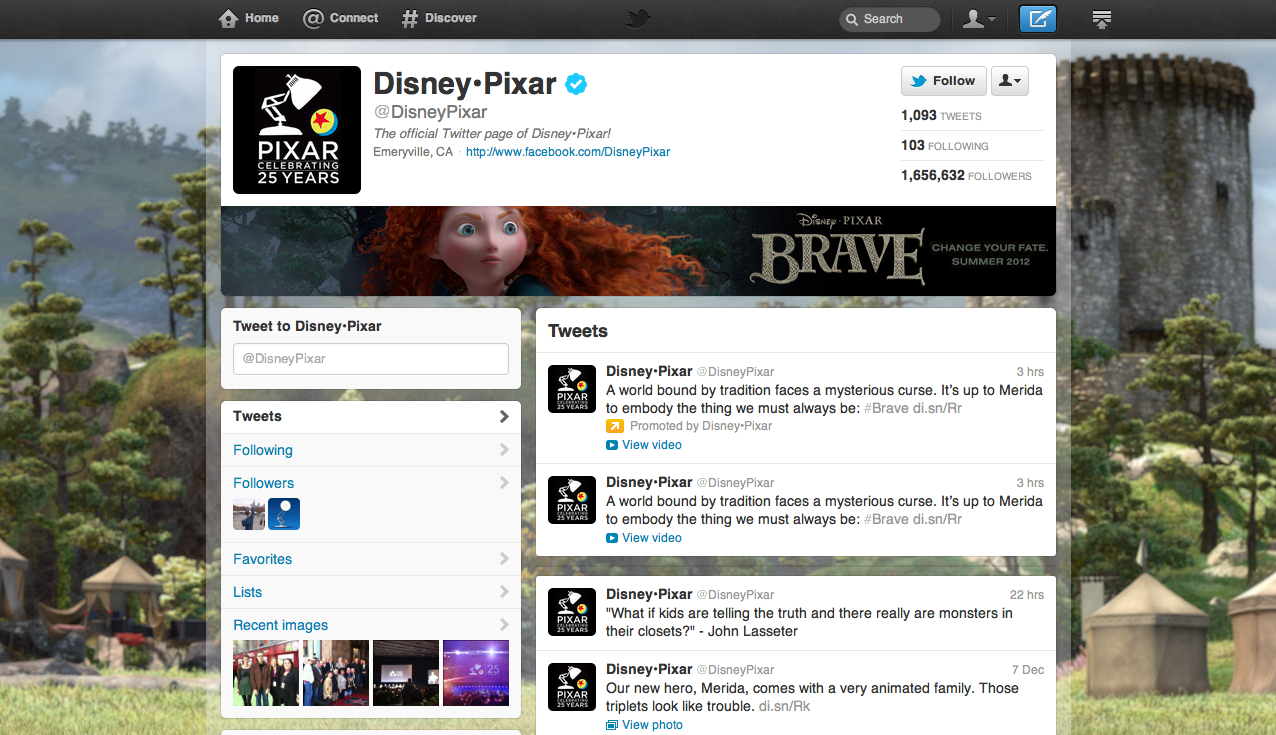 Pixar Features 'Brave' On New Twitter Brand Page