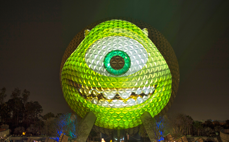 Spaceship Earth Turns Into Mike Wazowski To Announce Disney Parks Will Stay Open 24 Hours May 24-25